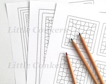 Printable Crochet Colouring Pages / Granny Square Crochet Colouring Pictures / Crochet Granny Stripe Crochet Blanket Patterns / Bundle 2