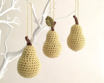 Pear Ornaments / Pear Decorations / Chartreuse Green Hanging Ornaments Home Décor / Fruit Christmas Tree Twig Tree