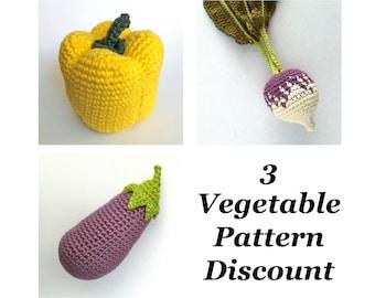 Crochet Vegetable Patterns Discount Bundle / Crochet Food Patterns / Aubergine Eggplant Pepper Turnip