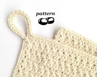 Crochet Dishcloth Pattern / Star Stitch Crochet Pattern Dishcloth / Pretty Rustic Kitchen Cloth Potholder