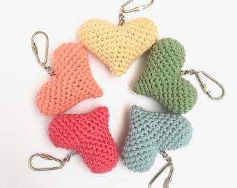 Heart Keychain Heart Keyring Bag Charm Pocket Hug Gift for Her / Stay Safe Send Love Sweet Sweetheart / Organic Eco-friendly Natural
