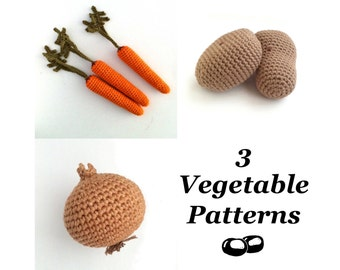 Crochet Vegetable Patterns / Crochet Food Patterns / Carrot Pattern / Onion Pattern / Potato Pattern