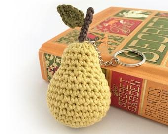 Pear Key Ring Keychain Pear Bag Charm / Eco-friendly Gift Organic Cotton Fruit Gift for Gardener Coworker Gift Secret Santa Gift