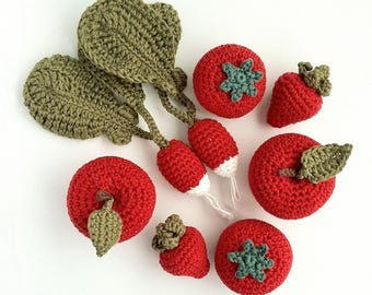 Crochet Fruit Crochet Vegetables Crocheted Fruit Crocheted Vegetables Table Decorations Kitchen Garden Seasonal Decor - 4 Pieces