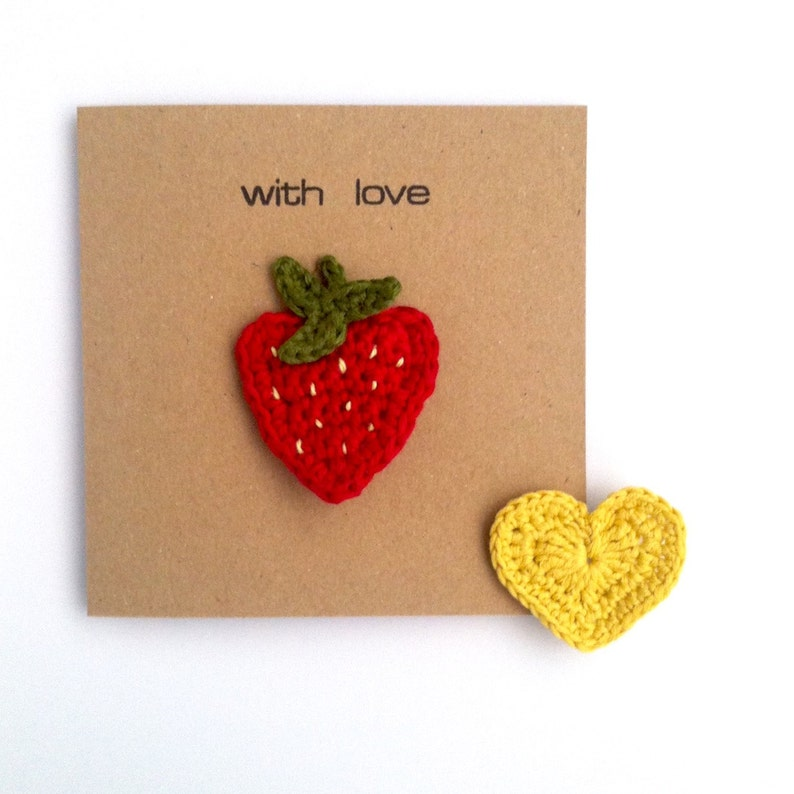 Greetings Card with Brooch for her  Love Heart Strawberry  Eco-friendly