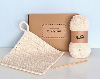 Crochet Dishcloth Kit / DIY Crochet Kit Make your Own Dishcloth / Simple Crochet Beginner Kit / Eco-friendly Recycled Gift for Crocheter