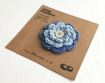 Blue Brooch Pin Handmade Flower Brooch / Zero Waste Gift for Women Co-Worker Gift Mother's Day Gift for Mom Gift for Her Mum Gift