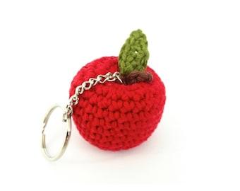 Apple Key Ring / Apple Keychain / Apple Bag Charm / Teacher Thank You Gift Teacher Appreciation Gift / Apple of My Eye / Miniature Fruit