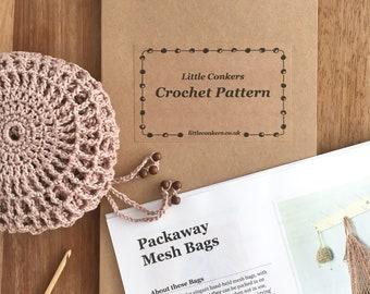 Crochet Pattern / Gift for Crocheter / Crochet Gift / String Mesh Bag Purse Printed Paper Pattern / Craft Gift  / Eco-friendly Gift for Mom