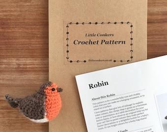 Crochet Robin Pattern / Gift for Crocheter / Crochet Gift / Printed Paper Pattern / Christmas Gift Craft Gift Small Gift Stocking Filler