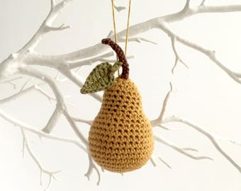 Gold Pear Ornament / Gold Christmas Tree Ornament / Christmas Tree Decoration / Twig Tree Ornaments / Autumn Fall Thanksgiving Holidays