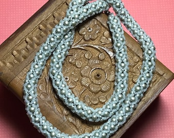 White - Silver Colored Beadwoven Rope Necklace
