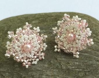 Pink - White Beaded Post Earrings