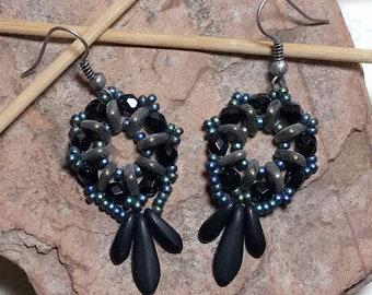 Black - Blue Dagger Bead Earrings