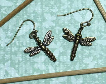 Dragonfly Beaded Dangle Earrings