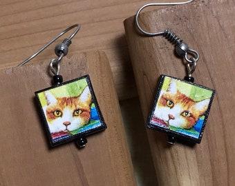 Orange Kitty Cat Dangle Earrings