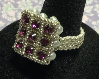 Purple - Silver Beaded Crystal Ring