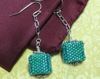 Green Beaded Cube Dangle Earrings