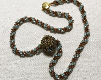 Beaded Ball Spiral Rope Pendant Necklace