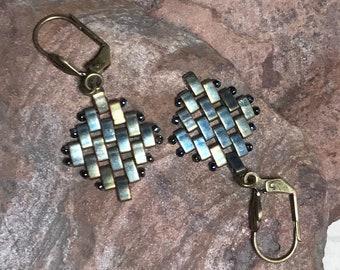 Khaki Beadwoven Dangle Tile Earrings