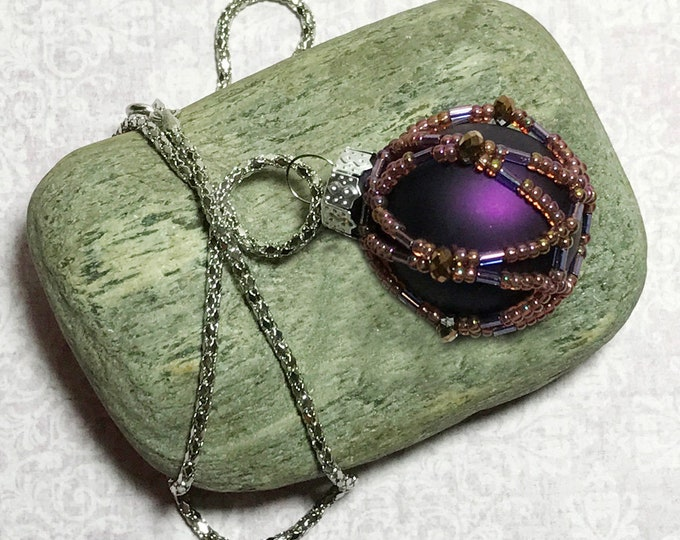 Featured listing image: Purple Beaded Ball Christmas Pendant Necklace