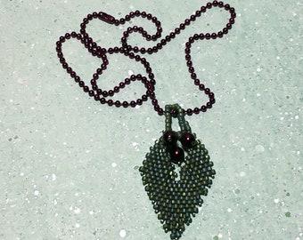 Green Leaf Beadwork Pendant Necklace