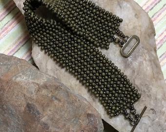Brass Colored Beadwork Matte Bracelet