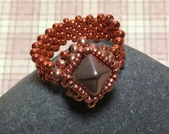Copper Colored Beaded Cocktail Ring