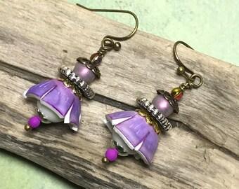 Purple Bead Cap Shrink Film Earrings