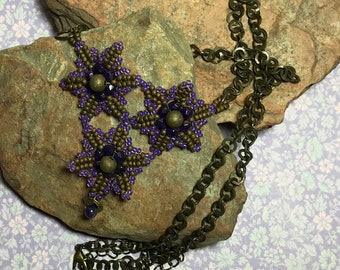 Purple - Brass Colored Beaded Star Necklace
