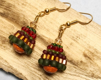 Red - Green Holiday Beadwork Earrings