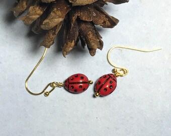 Red Ladybug Bead Insect Earrings