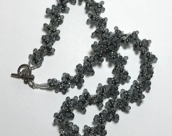 Gray Beaded Twist Spiral Rope Necklace