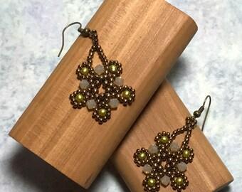 Bronze Beadwork Crystal Flower Earrings