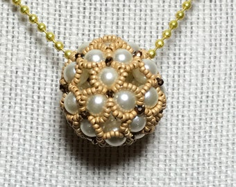 Gold Colored Beaded Ball Pendant Necklace
