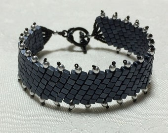 Gray Cuff Bead Woven Bracelet