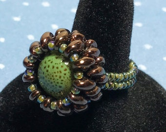 Green - Brown Beaded Ring