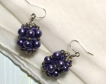 Purple Bead Dangle Drop Earrings