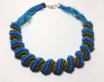 Blue - 7 Color Beadwoven Spiral Necklace