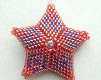 Red Beaded Star Pendant Necklace