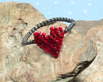Red Heart Valentine Beadwork Ring