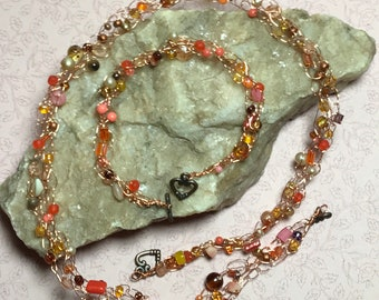 Orange Beaded Wire Crohcet Necklace Bracelet Set