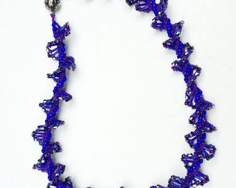 Purple Beaded Spiral Rope Twist Necklace