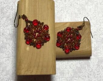 Red - Brown Flower Beaded Earrings