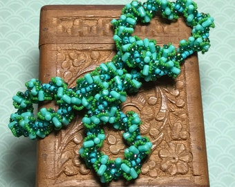 Teal Beadwoven Spiral Rope Twist Necklace