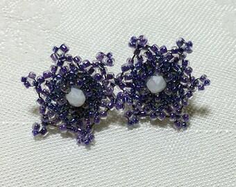 Purple Beaded Flower Post Earrings