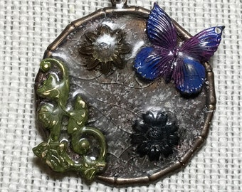 Vintaj Metal Butterfly Pendant Necklace