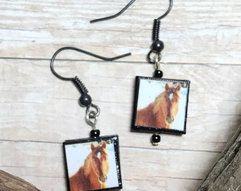 Brown Horse Charm Dangle Earrings