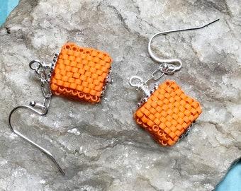 Orange Beaded Cube Dangle Earrings