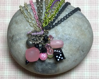 Pink - Black Multi Chain Bracelet